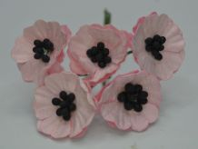 LIGHT PINK POPPY / PAPAVER (1.8 cm) Mulberry Paper Flowers